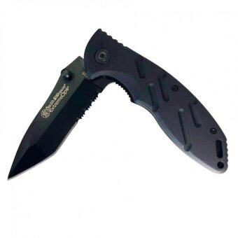 Smith and Wesson Extreme Ops Tactical Knife 440C Stainless Steel Blade has a 58HRC hardness มีดพับใบกึ่งหยัก
