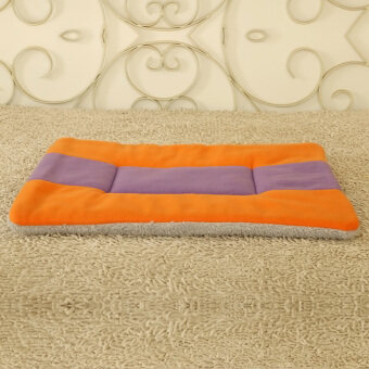 360DSC Super Soft Fleece Pet Bed Mats Puppy Dog Cat Sleeping Cushion Mat 63*50cm - Orange + Purple/XL