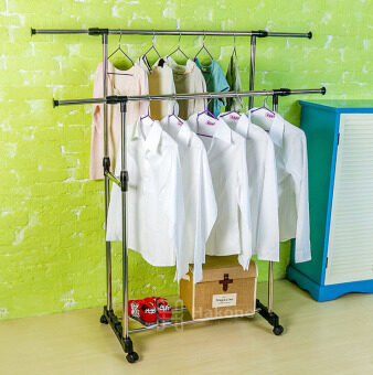Hakone ราวตากผ้าบาร์คู่ ราวแขวนผ้าบาร์คู่ ราวตากผ้า 2 ชั้น ราวแขวนผ้า 2 ชั้น ราวตากผ้า ราวแขวนผ้า แบบมีล้อ