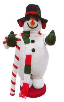 AllMerry Christmas สโนว์แมนผ้ากำมะหยี่ ถือไม้เท้า สูง 30 นิ้ว - สีขาว