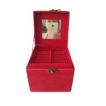 กล่องใส่เครื่องประดับ ผ้ากำมะหยี่ ขนาดใหญ่พิเศษ (สีแดง) (image 2)