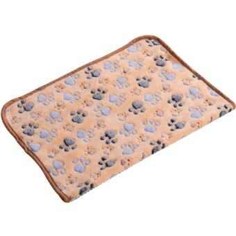 Cocotina Pet Dog Puppy Cat Pig Paw Print Warm Soft Blanket Bed Mat (Light Tan)