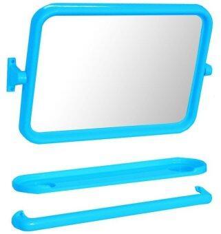 Elegance Wondergirl ชุดกระจกและชั้นวางของในห้องน้ำ 3 ชิ้น - สีฟ้า