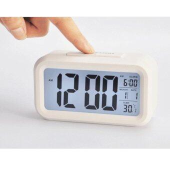 นาฬิกาปลุกตั้งโต๊ะ นาฬิกาปลุกเรื่องแสง นาฬิกาปลุก สีขาว หน้าจอ LED