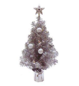 AllMerry Christmas ต้นคริสต์มาสสีเงิน 1.5 ฟุต ประดับบอลเงิน สายระฆังเงิน ยอดดาวเงิน (ชุด 4 ต้น)