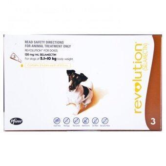 Revolution ยาหยอดกำจัดเห็บ หมัด สุนัข น้ำหนัก 5.1 - 10.0 kg บรรจุ 3 หลอด