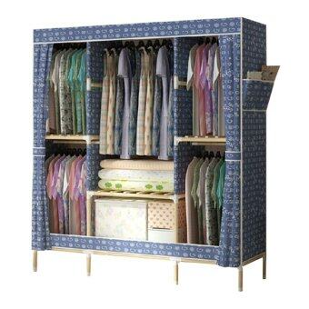 KAKUKI ตู้เสื้อผ้าแฟชั่นเกาหลี โครงไม้ Hot item Fashion Folding Clohts รุ่น-150B-1 (สีน้ำเงิน)