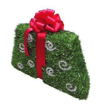 AllMerry Christmas กล่องของขวัญสุขสันต์สีเขียวผูกโบว์แดง 72x4x16ซม