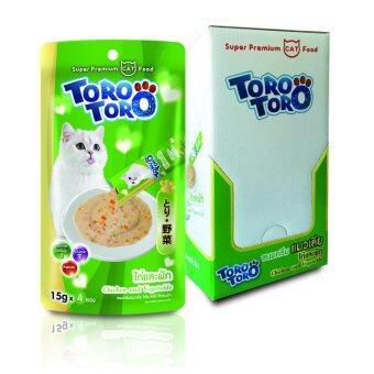 Toro Toro โทโร โทโร่ ขนมครีมแมวเลีย ไก่และผัก แพ็ค 12 (15 g. x 4 ซอง)