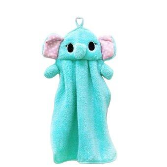 Hand Towel Soft Plush Fabric Cartoon Elephant Wipe Hanging Bathing Towel