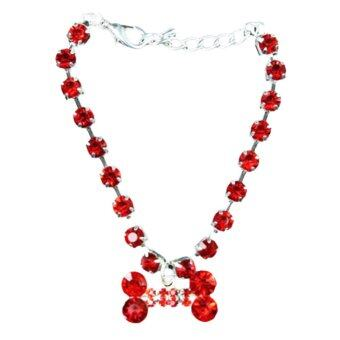 Gracefulvara Pet Bone Necklace (Red)