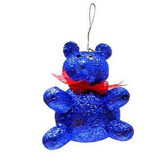 AllMerry Christmas ตุ๊กตาหมีโฟมหุ้มกากเพชร 5 นิ้ว สีน้ำเงิน (ชุด 4 ตัว)
