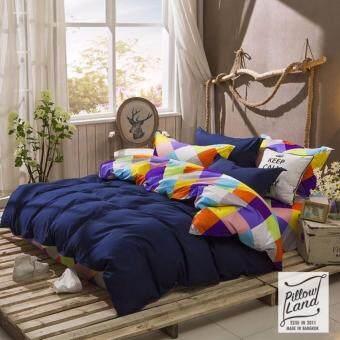 Pillow Land ผ้าปูที่นอน ชุดผ้านวม เกรด A 6 ฟุต 6 ชิ้น NY 302
