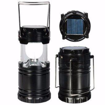 MP.DC แบทสำรองตะเกียง Outdoor LED Solar Camping Light Flashlight & USB Power Bank Tent Lamp Lantern (สีดำ)
