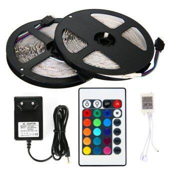 ไฟเส้น LED 5m 3528 RGB 60/M (2 ชิ้น) + 12V 3A Power supply + 24key IR Remote Control EU Plug