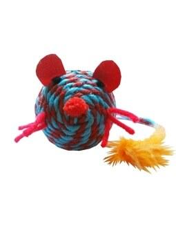 Dogacat ของเล่นแมว ตุ๊กตาหนูเชือกสาน - สีฟ้าแดง