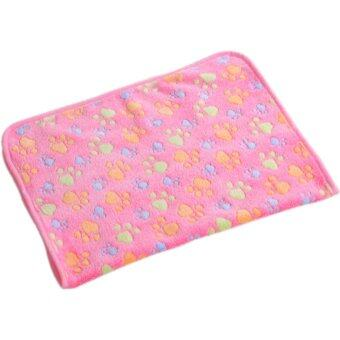 Cocotina Pet Dog Puppy Cat Pig Paw Print Warm Soft Blanket Bed Mat (Pink)