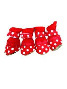 Dogacat รองเท้าสุนัข รองเท้าหมา รองเท้าแมว สีแดงลายจุดขาวV2