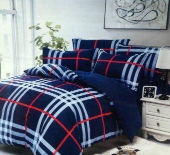 Pillow Land ผ้าปูที่นอน ชุดผ้านวม เกรด A 6 ฟุต 6 ชิ้น ลายสก๊อต018