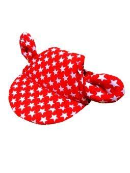 Dogacat หมวกสุนัข หมวกหมา หมวกแมว หมวกมีหู ลายดาว size 3 - สีแดง
