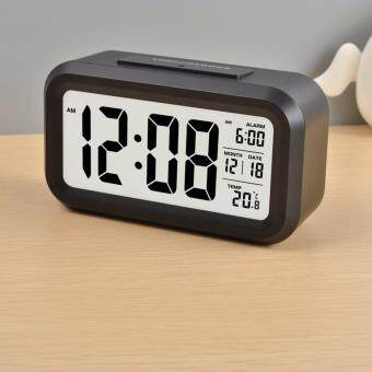 Silent Digital Alarm Clock with Time Temperature Display Night LightBlack