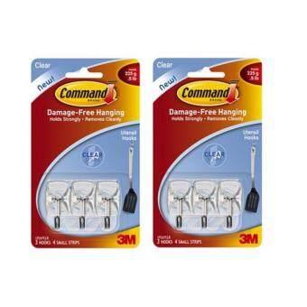 Command™ SMALL WIRE HOOKS WITH CLEAR STRIPS 17067CLR ตะขอแกนเหล็กอเนกประสงค์ (แพ็ค 2 ชิ้น)