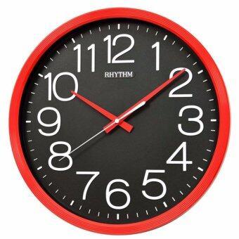 RHYTHM นาฬิกาแขวน รุ่น CMG495DR01 (สีแดง/ดำ)