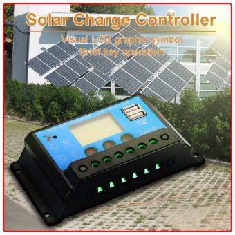 เครื่องควบคุมประจุ 20A 12V/24V LCD Display PWM Solar Panel Regulator Charge Controller USB