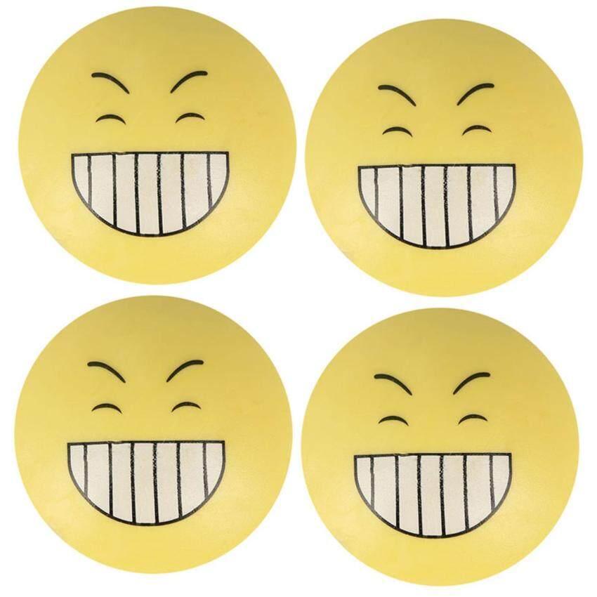 JNTworld 4 pcs Smile Face Emoji Door Handle Anti- Collision Pads Silencer Crash Pads Doorstops - intl