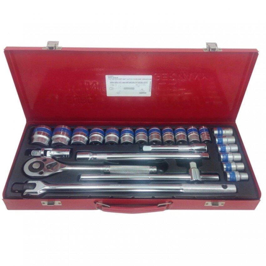 "King Tools ชุดเครื่องมือช่างSet 24 Pcs. 1/2"" Dr Socket Set 24 PCcs. Chrome Vanadium"