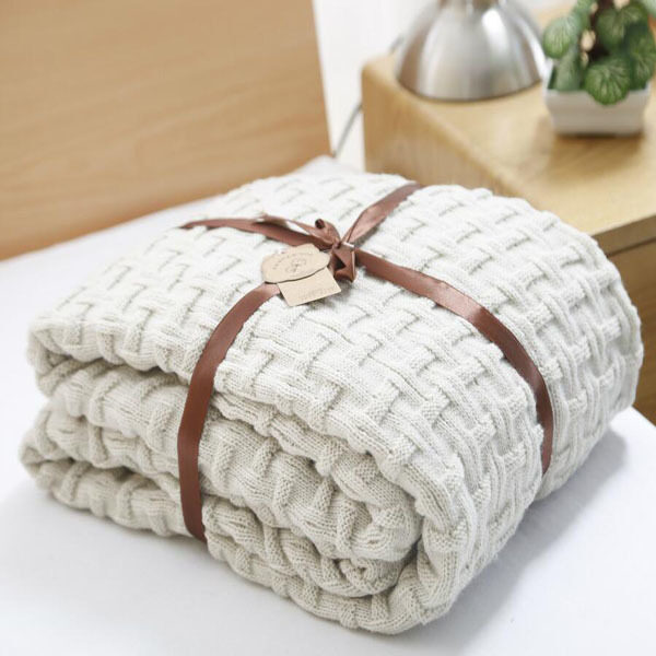 Knitted Throw Blanket Solid Color Thread Blankets Washable Manta Spring Autumn Sofa Cobertor Air Conditioning Nap