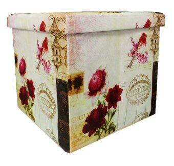 Koorkinoor กล่องอเนกประสงค์ Stool X-Box01-77 ลายดอกกุหลาบ