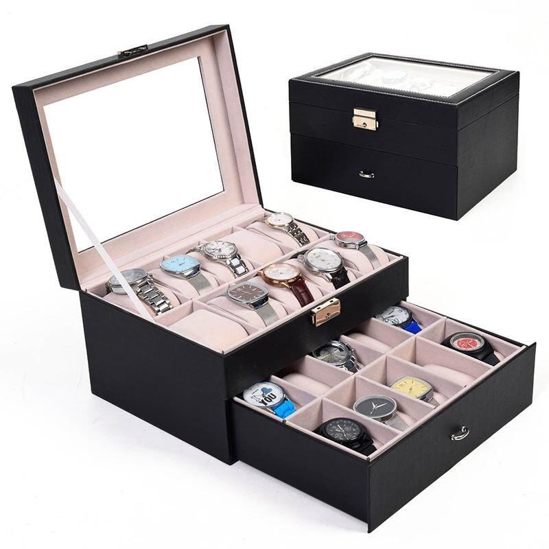 Large 20 Slot Leather Watch Box Display Case Organizer Glass Top Jewelry Storage - intl ...