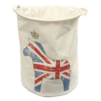 Large Waterproof Folding Laundry Hamper Bag Washing Basket Clothes Storage Pouch White Horse - Intl