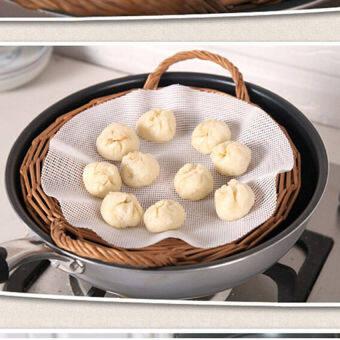 LZ Black Horse 25Cm Echo-Friendly Silicone Steamer Pad Dumplings Matstuffed Bun Pad 1Pc New-White - intl