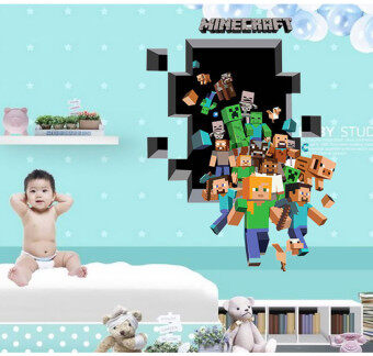 minecraft 3d wall stickers for kids rooms Wallpaper Home Decoration minecraft stickers - intl