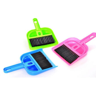 Mini Computer Desk Keyboard Desk Table Brush Dustpan Broom Netbook Car Cleaner Blue