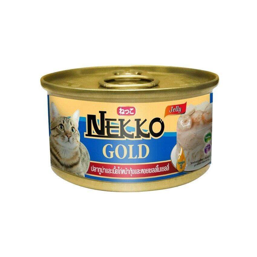 Nekko Gold เน็กโกะ โกลด์ อาหารแมวกระป๋องสำเร็จรูป ชนิดเปียก รสปลาทูน่าและเนื้อไก่หน้ากุ้งและหอยเชลล์ในเยลลี่ 85 กรัม 48 กระป๋อง/ลัง (น้ำเงิน)