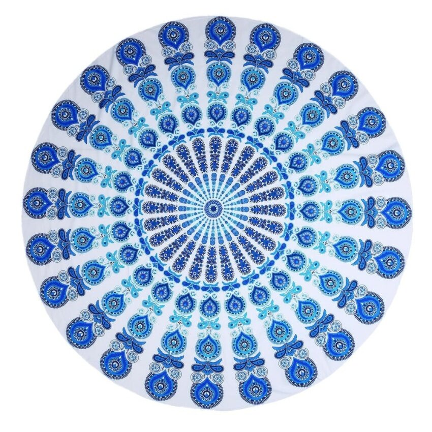 oanda Beach Blanket Mandala Round Roundie Beach Throw Tapestry Boho Gypsy Ombre Tablecloth Beach Towel Yoga Mat Wall Window Decor, Polyester Blue Peacock 1.4m - intl