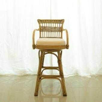 เก้าอี้บาร์หวายแท้ หมุนได้
