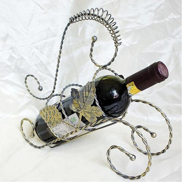 Retro Iron Wine Bottle Holder Wine Shelf Fashion Metal Kitchen Bar Wine Racks Home Decoration Accessories 29×9.5×26cm - (Intl)