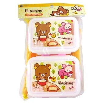Rilakkuma Plastic Dual Lunch Boxes with Pouch (Blue)
