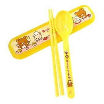 Rilakkuma Plastic Spoon and Chopsticks Set with Case Yellow
