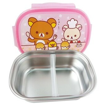 Rilakkuma Stainless Dual Lunch Boxes and Bag Brown