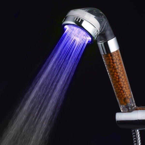S Size LED Anion SPA Shower Head Filtration Handheld 3 Color Changing Bathroom - intl ...