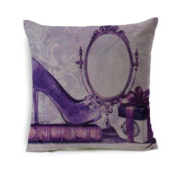 Sparkle Girl Decorative Cushion Cover Fashion Purple Lady Accessory Printed Linen Sofa Pillow Cover Cases