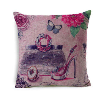 Sparkle Girl Decorative Cushion Cover Pink Shoes Lady Accessory Printed Linen Sofa Pillow Cover Cases
