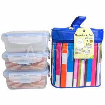 Super Lock ชุดกล่องถนอมอาหาร sets 6 ชิ้นรวมฝา พร้อมกระเป๋าสีรุ้ง Super Lock 5011Blue-2