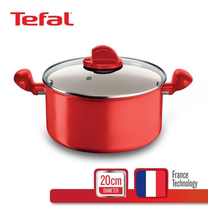 Tefal หม้อ 2 หู พร้อมฝาแก้ว 20 ซม.รุ่น Ceramic Colors C9044472 - Red