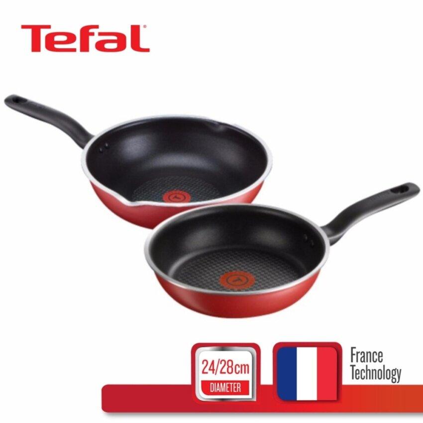 Tefal เซต กระทะแบน 24 ซม. + กระทะก้นลึก 28 ซม. รุ่น Pure Chef